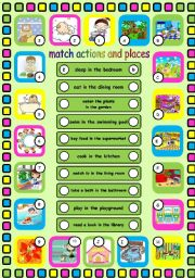 English Worksheets: Actions and places. Editable