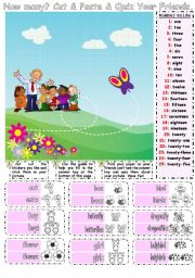 English Worksheets: How Many Cut & Paste & Speaking Activity for Younger Learners 1/2
