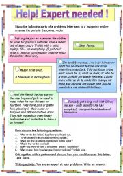 English Worksheets: Letter writing - TEENAGE PROBLEMS LETTER
