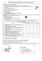 English Worksheets: Formal oral presentation