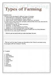 English Worksheets: Types of Farming
