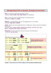 English Worksheets: Recognizing Parts of Speech
