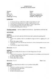 English Worksheets: lesson plan(letter of application)