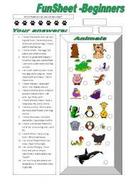 English Worksheets: FunSheet Beginners -Animals