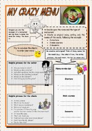 English Worksheet: At the restaurant - My crazy menu (group activity, role-play) B&W version included