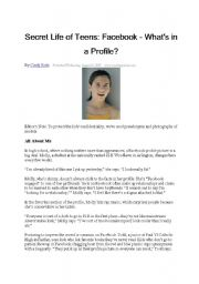 English worksheet: Secret Life of Teens: Facebook - What´s in a Profile?
