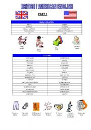 English Worksheet: BRITISH VS AMERICAN ENGLISH - PART 1 (BABY & CLOTHES RELATED TERMS)