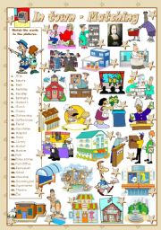 English Worksheets: IN TOWN - Matching