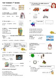 English Worksheet: Test yourself- 7th grades--Horoscopes,asking directions, supersititions,transportation etc.