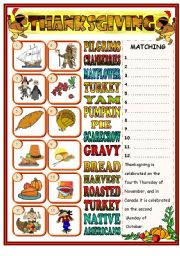 English Worksheet: Thanksgiving matching (BW included)