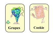 English Worksheet: 20 Funny food flash-cards. (Part 1)