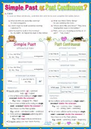 English Worksheet: Simple Past or Past Continuous?  -  Inductive Approach