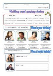 English Worksheet: Writing and saying dates