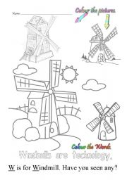 English Worksheets: W is for windmill