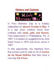 English Worksheet: Mother�s Day in Peru