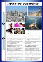 English Worksheet: Conversation Corner: Where in the World? (5)