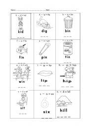 English Worksheets: i sound phonic