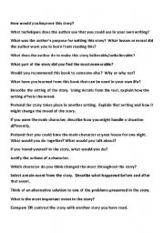 English Worksheets: Higher Order Questions for Fiction Reading