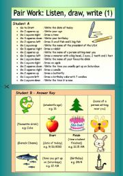 English Worksheets: Pair Work: Listen, draw, write (1)