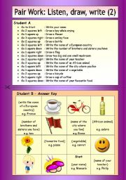 English Worksheets: Pair Work: Listen, draw, write (2)
