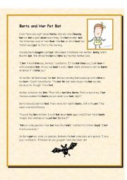 English Worksheets: Berta and Her Pet Bat