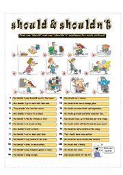 English Worksheet: SHOULD & SHOULDN´T