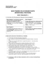 English Worksheets: Body frame for writing