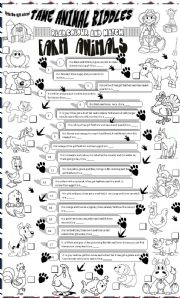English Worksheet: tame animal riddles