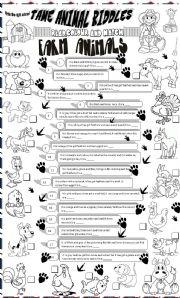 English Worksheets: tame animal riddles
