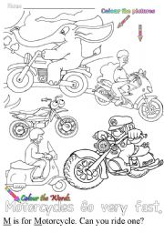 English Worksheets: M is for motorcycle