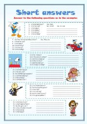 English Worksheets: short answers - editable-
