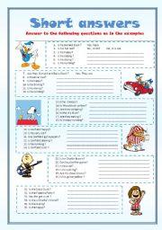 English Worksheets: short answers - editable-