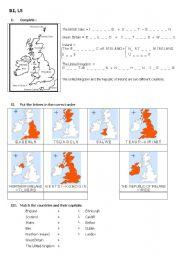 English Worksheet: the British isles, part 1