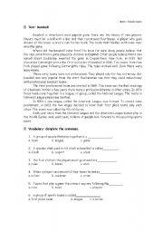 English Worksheet: Baseball Text and Exercises