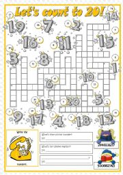 English Worksheet: LET�S COUNT TO 20!