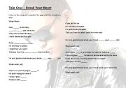 English worksheet: Break your Heart - Taio Cruz