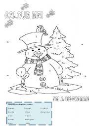 IT´S WINTER! COLOUR THE SNOWMAN!