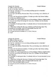 English worksheets: Going to the museum. Sample dialogue