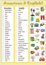 English Worksheet: American&English 1