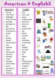 English Worksheet: American&English2