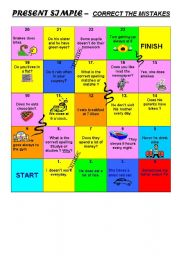 PRESENT SIMPLE - SNAKES AND LADDERS GAME