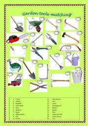 Intermediate esl worksheets garden tools matching for Gardening tools vocabulary