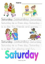Days of the Week: Saturday and Everyday (3 worksheets, color and B & W plus word search key)