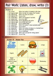 English Worksheets: Pair Work: Listen, draw, write (3)