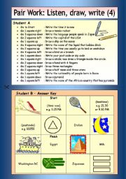 English Worksheets: Pair Work: Listen, draw, write (4)