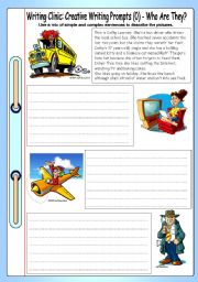 English Worksheets: Writing Clinic: Creative Writing Prompts (0) - Who Are They?