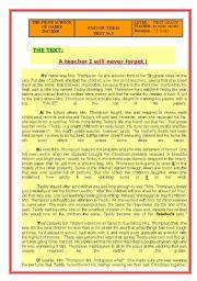 English Worksheets: reading comprehension.