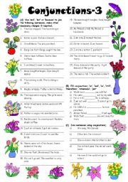English Worksheets: Conjunctions-3 (Editable with Answers)
