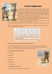 English Worksheet: the story of Robinson Crusoe