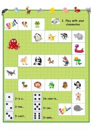 English Worksheets: board game with animals